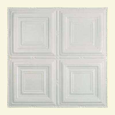 Syracuse 2 ft. x 2 ft. Nail-up Tin Ceiling Tile in Matte White