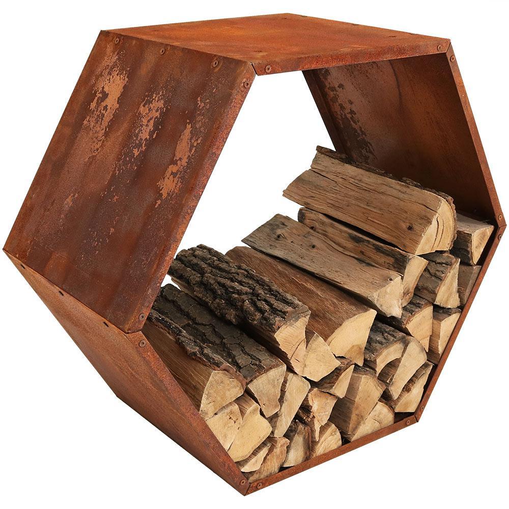 30 in. Hexagon Steel Honeycomb Firewood Log Rack