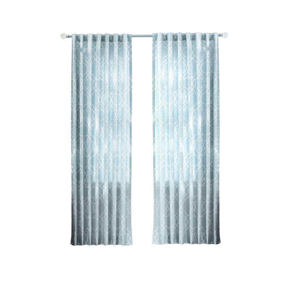 Garden Gate Light Filtering Window Panel in Spring Blue - 54 in. W x 95 in. L
