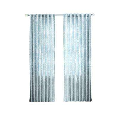 Garden Gate Light Filtering Window Panel in Spring Blue - 54 in. W x 95 in. L