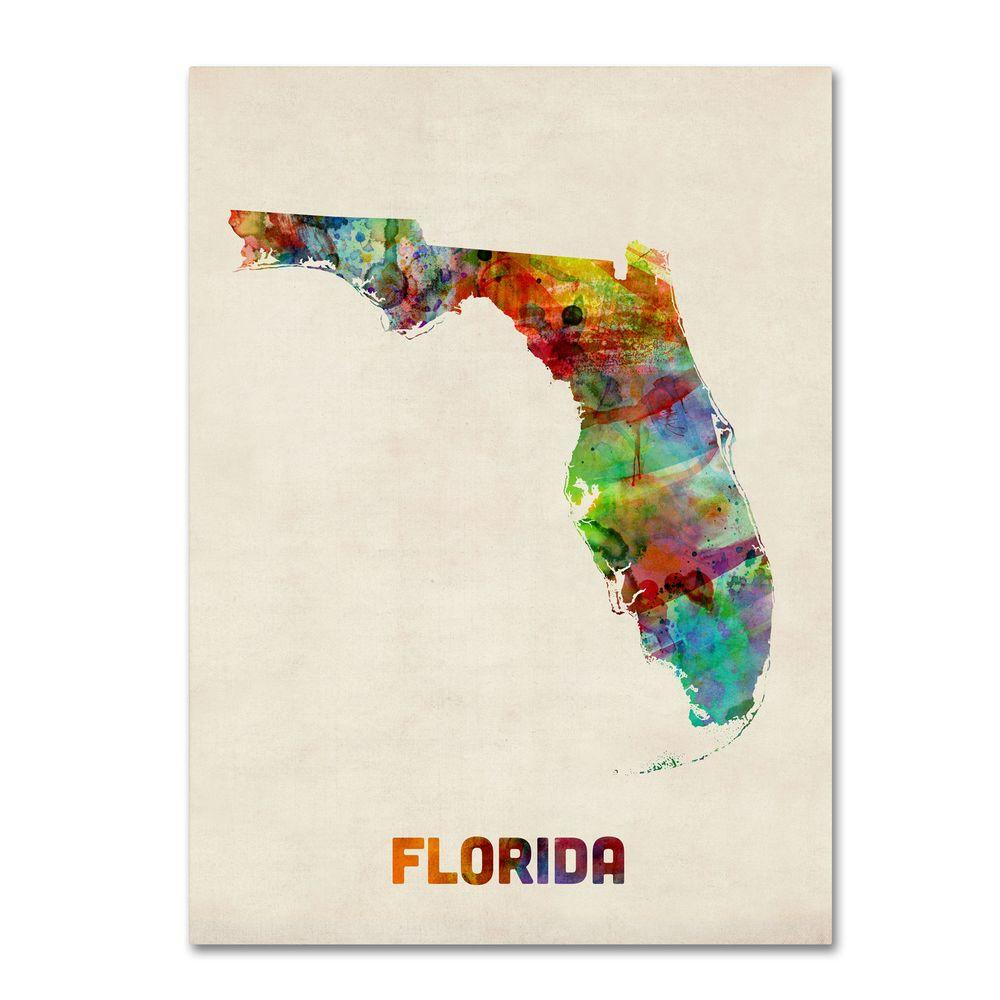 24 in. x 18 in. Florida Map Canvas Art