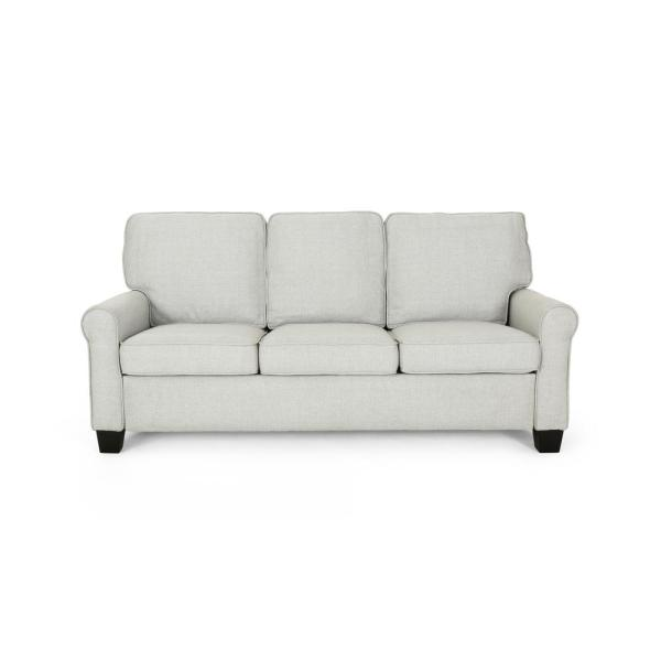 Noble House Davies Traditional Light Gray Fabric 3-Seater Sofa 307561