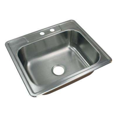 Classic Drop-In Stainless Steel 25 in. 2-Hole Single Bowl Kitchen Sink in Brushed Stainless Steel