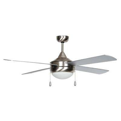 Centurian Series 52 in. Indoor Stainless Steel Ceiling Fan with Light