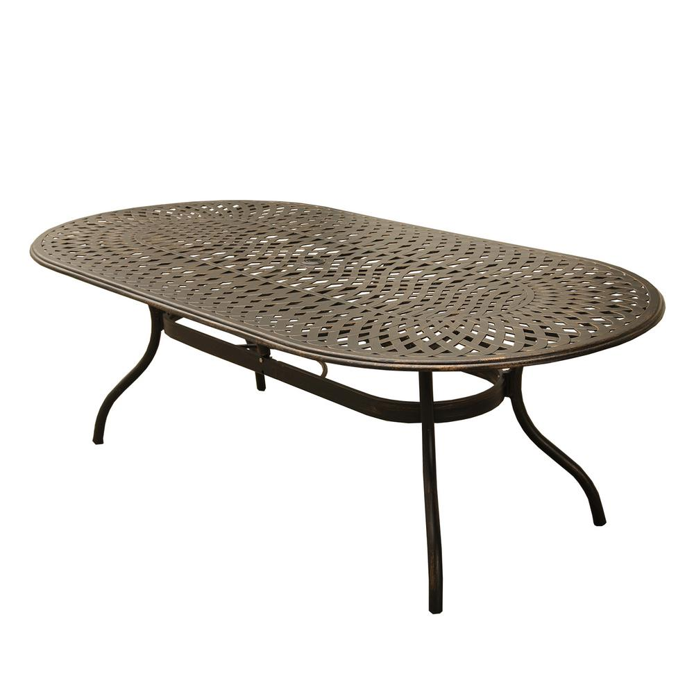 Contemporary Modern Oval Aluminum Outdoor Dining Table Mesh Lattice In Bronze