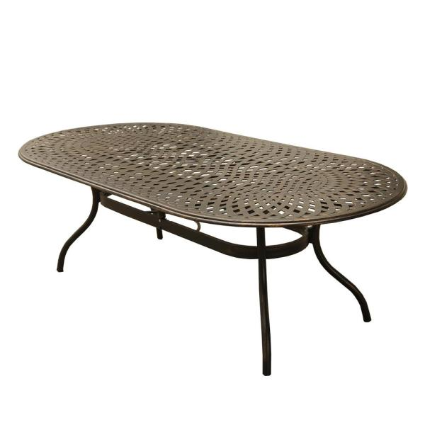 95 In Contemporary Modern Oval Aluminum Outdoor Dining Table Mesh Lattice In Bronze Hd1025 Oval 95 Mesh Table Bz The Home Depot