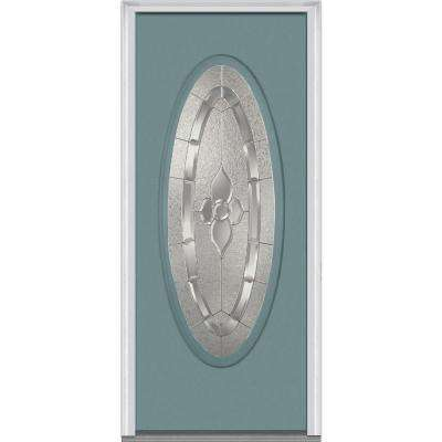36 in. x 80 in. Master Nouveau Right-Hand Large Oval Classic Painted Fiberglass Smooth Prehung Front Door