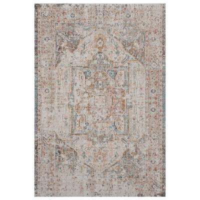Antiquity Cream/Blush 7 ft. 9 in. x 9 ft. 9 in. Distressed Turkish Bordered Indoor/Outdoor Area Rug