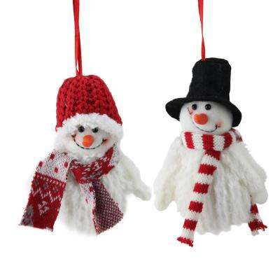 5 in. Set of Tiny Smiling Christmas Fuzzy Snowman with Hat and Striped Scarf Ornaments (2-Piece)