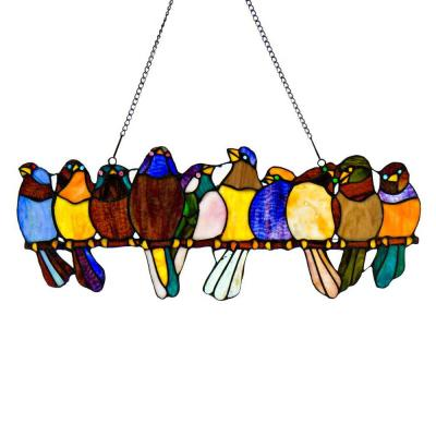 Multi Stained Glass Birds on a Wire Window Panel