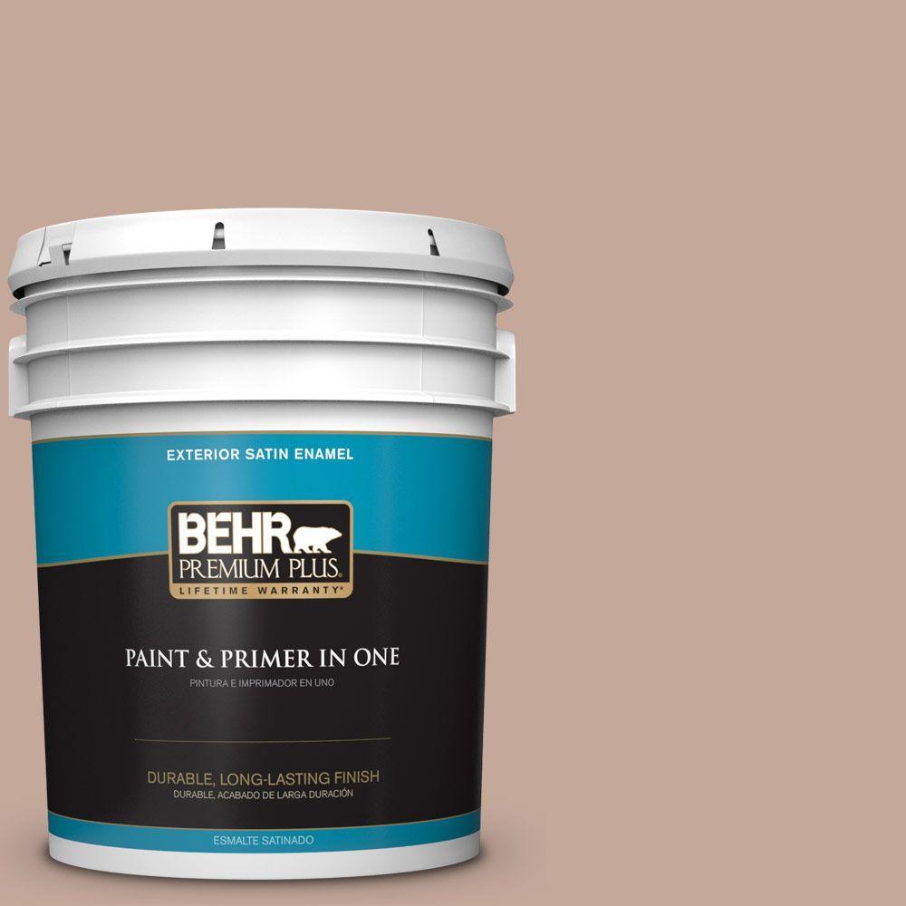 BEHR Premium Plus 5-gal. #760B-4 Adobe Straw Satin Enamel Exterior Paint