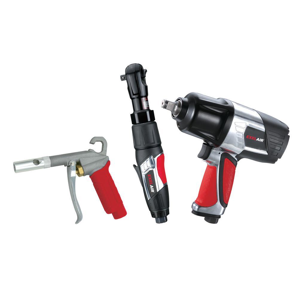 EXELAIR 3-Piece Professional Air Tool Kit by EXELAIR