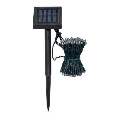 200-Light 19.5 ft. Solar Powered Integrated LED White String Light Set