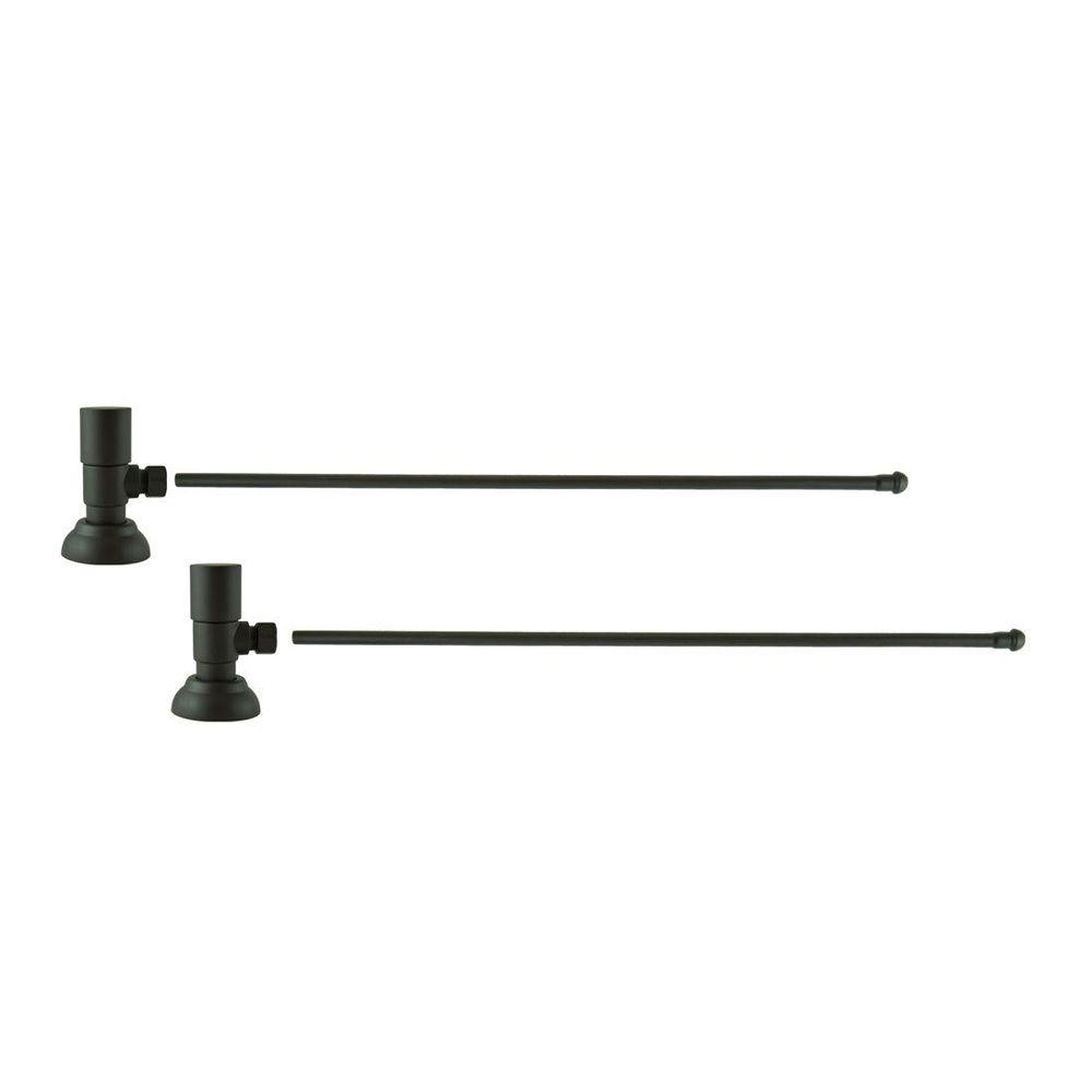 3/8 in. O.D x 20 in. Brass Rigid Lavatory Supply Lines with Round Handle Shutoff Valves in Oil Rubbed Bronze Barclay provides all your essential bathroom needs. Enjoy the convenience of accessible water shut-off with these decorative lavatory supplies. Choose from 4 designer finishes. Color: Oil Rubbed Bronze.