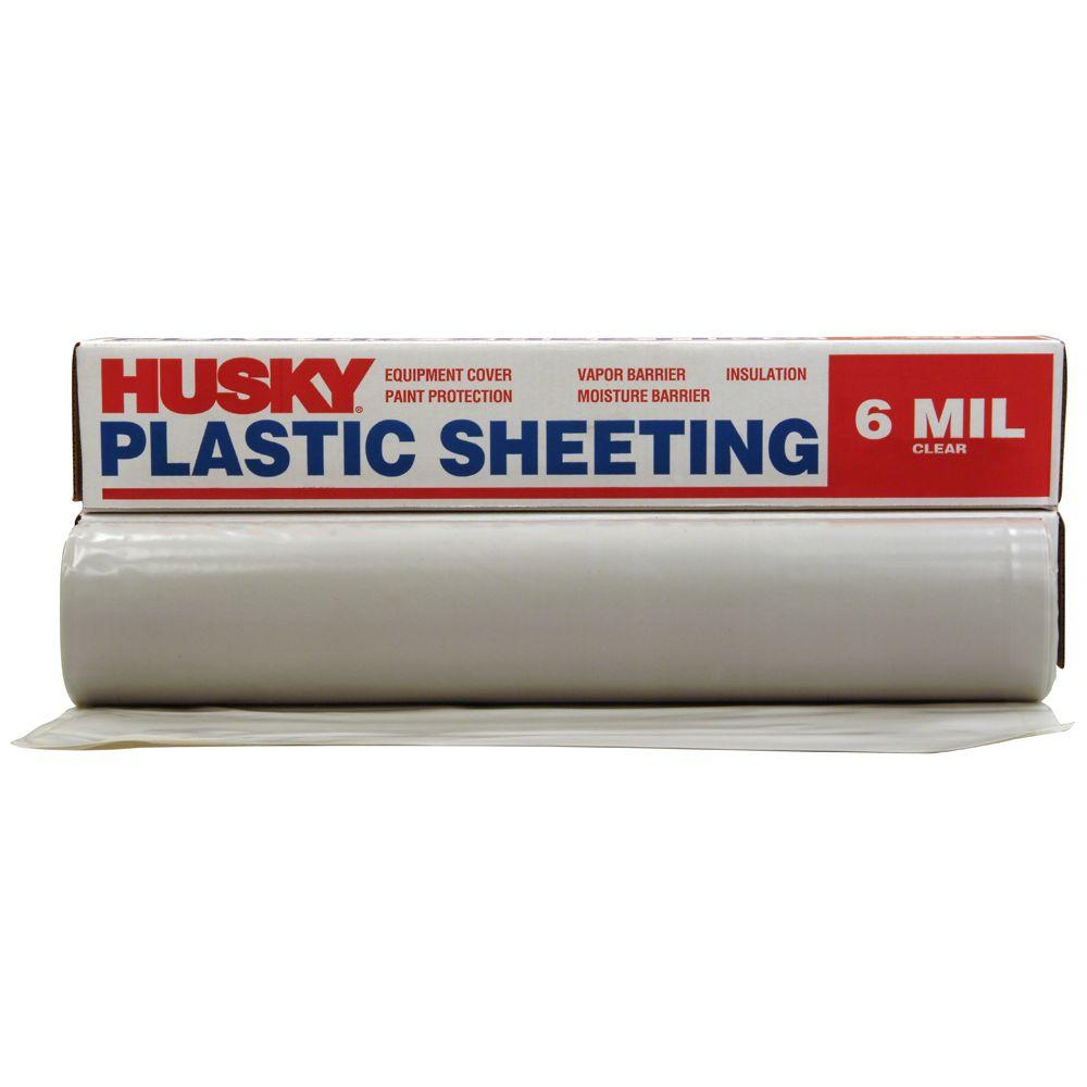 HUSKY 20 ft. x 50 ft. Clear 6 mil Plastic Sheeting