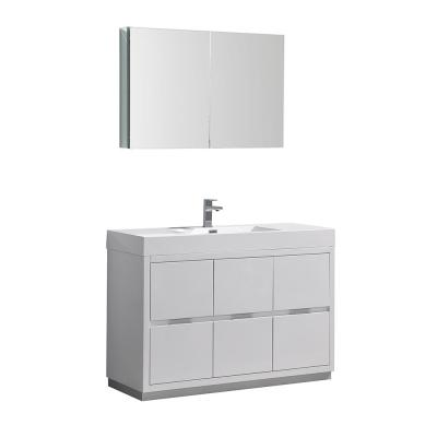 Valencia 48 in. W Vanity in White with Acrylic Vanity Top in White with White Basin and Medicine Cabinet