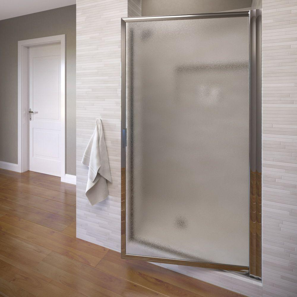 Basco Deluxe 34-7/8 in. x 67 in. Framed Pivot Shower & Basco Deluxe 34-7/8 in. x 67 in. Framed Pivot Shower Door in Silver ...