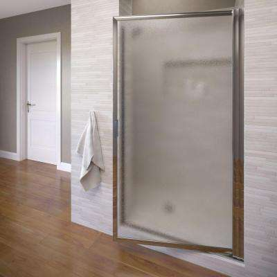 Deluxe 34-7/8 in. x 67 in. Framed Pivot Shower Door in Silver with Obscure Glass