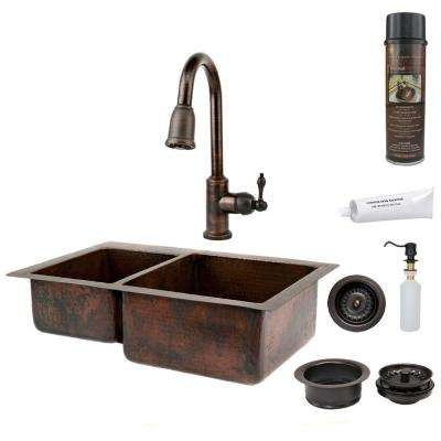 All-in-One Undermount Hammered Copper 33 in. 0-Hole 40/60 Double Bowl Kitchen Sink in Oil Rubbed Bronze