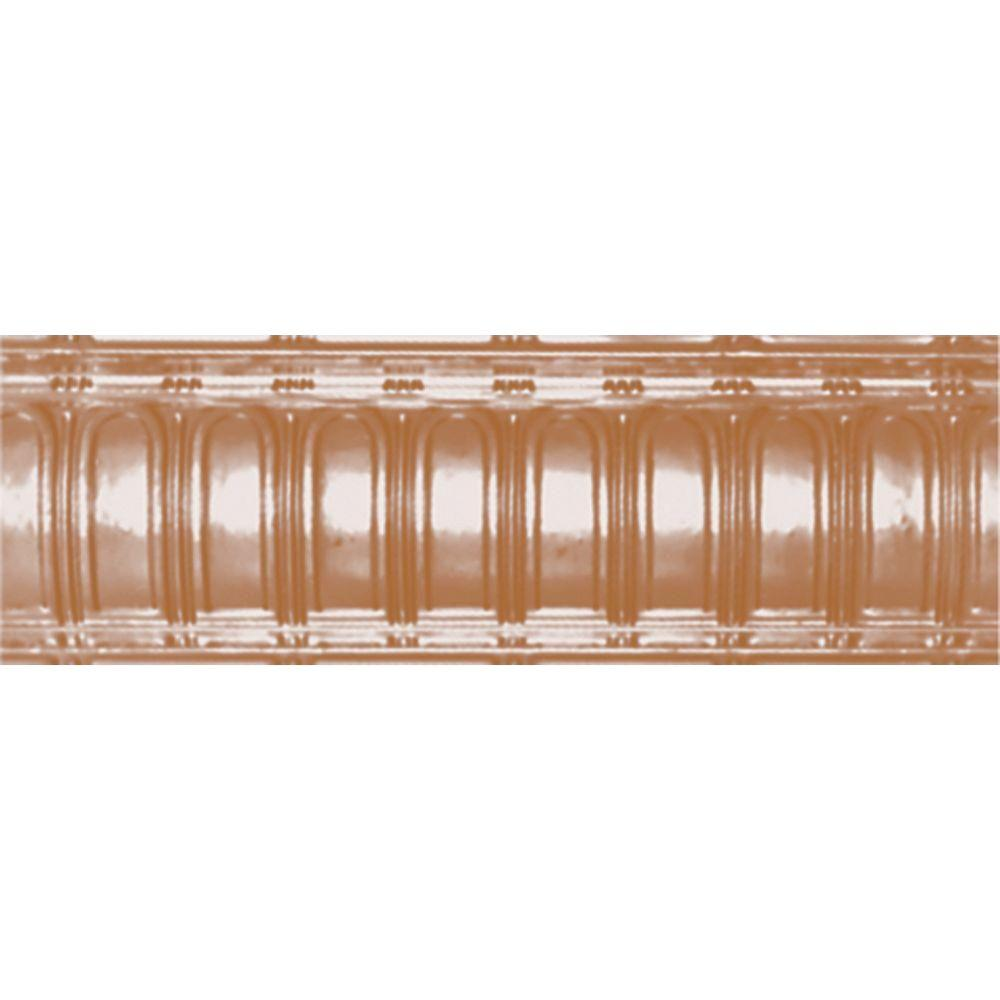 Shanko 6 in. x 4 ft. x 6 in. Satin Copper Nail-up/Direct Application Tin Ceiling Cornice (6-Pack)