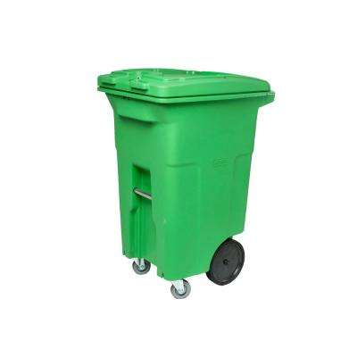 64 Gal. Lime Green Trash Can with Wheels and Lid (2 caster wheels 2 stationary wheels)