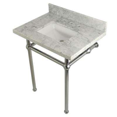 Square Sink Washstand 30 in. Console Table in Carrara with Metal Legs in Chrome