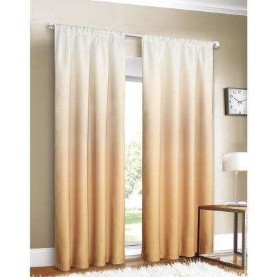 Shades 40 in. W x 84 in. L Ombre Design Window Panel Pair in Gold (2-Pack)