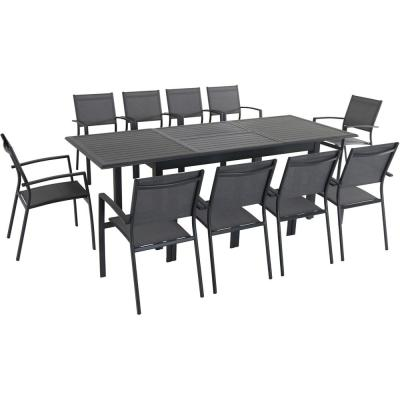 Turner 11-Piece Aluminum Outdoor Dining Set with 10-Sling Dining Chairs and 40 in. x 94 in. Table
