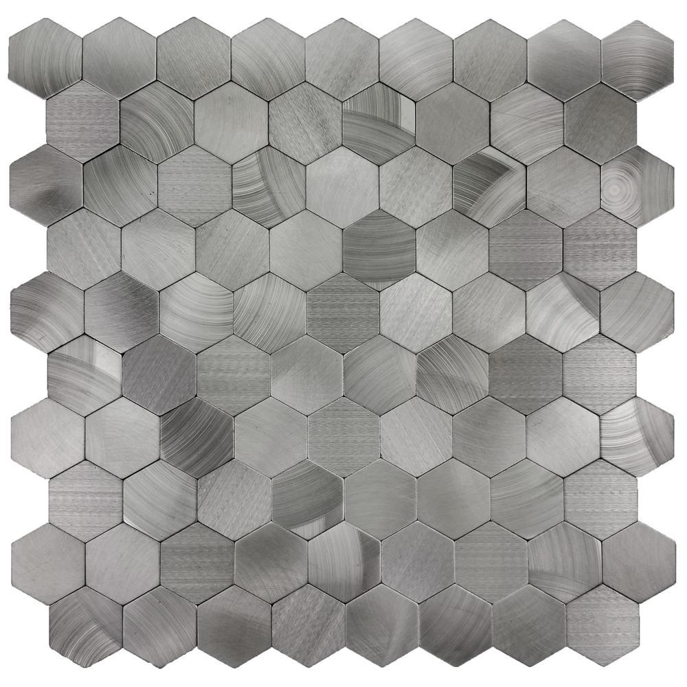 Enchanted Metals 12 in. x 12 in. Silver Aluminum Hexagon Peel