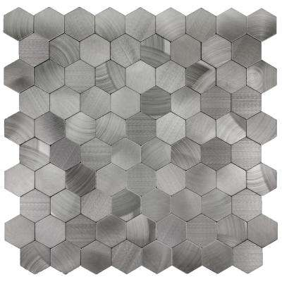 Enchanted Metals 12 in. x 12 in. Silver Aluminum Hexagon Peel and Stick Decorative Wall Tile