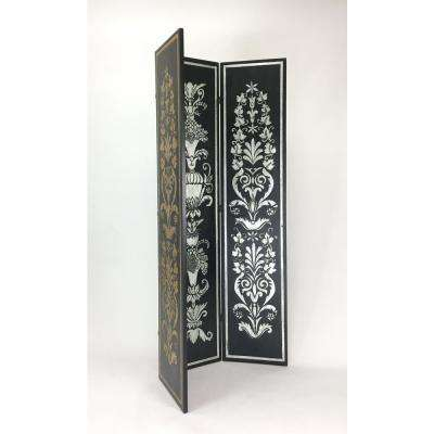 Silver and Gold Leaf  Hand Painted Double Side Screen