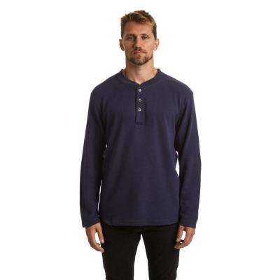Men's Medium Navy Blue Long Sleeve Henley