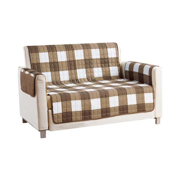 QuickFit Alba Water Resistant Taupe-Chocolate Fit Polyester Fit Loveseat Slip