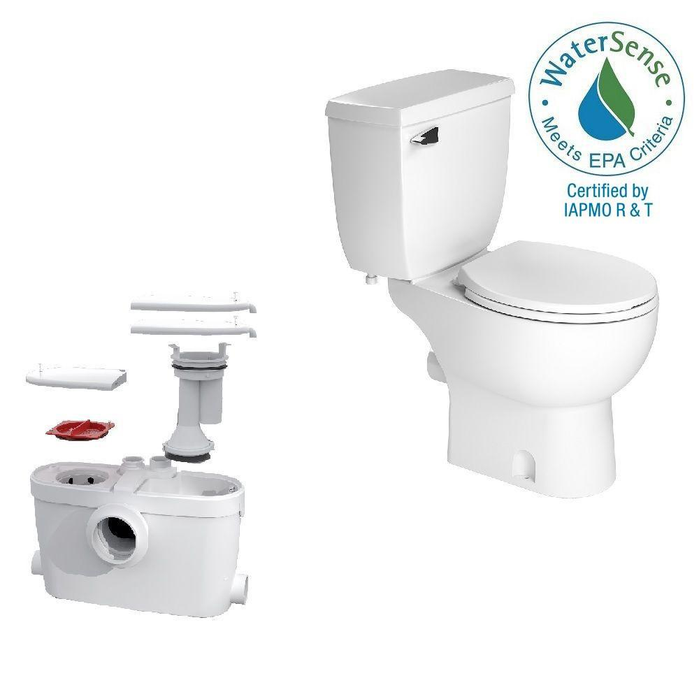 Saniflo Saniaccess3 2 Piece 1 280 Gpf Single Flush Round Toilet With 5 Hp Macerating