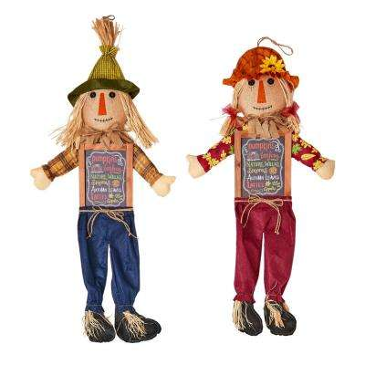 36 in. Hanging Scarecrow with Sign (Set of 2)
