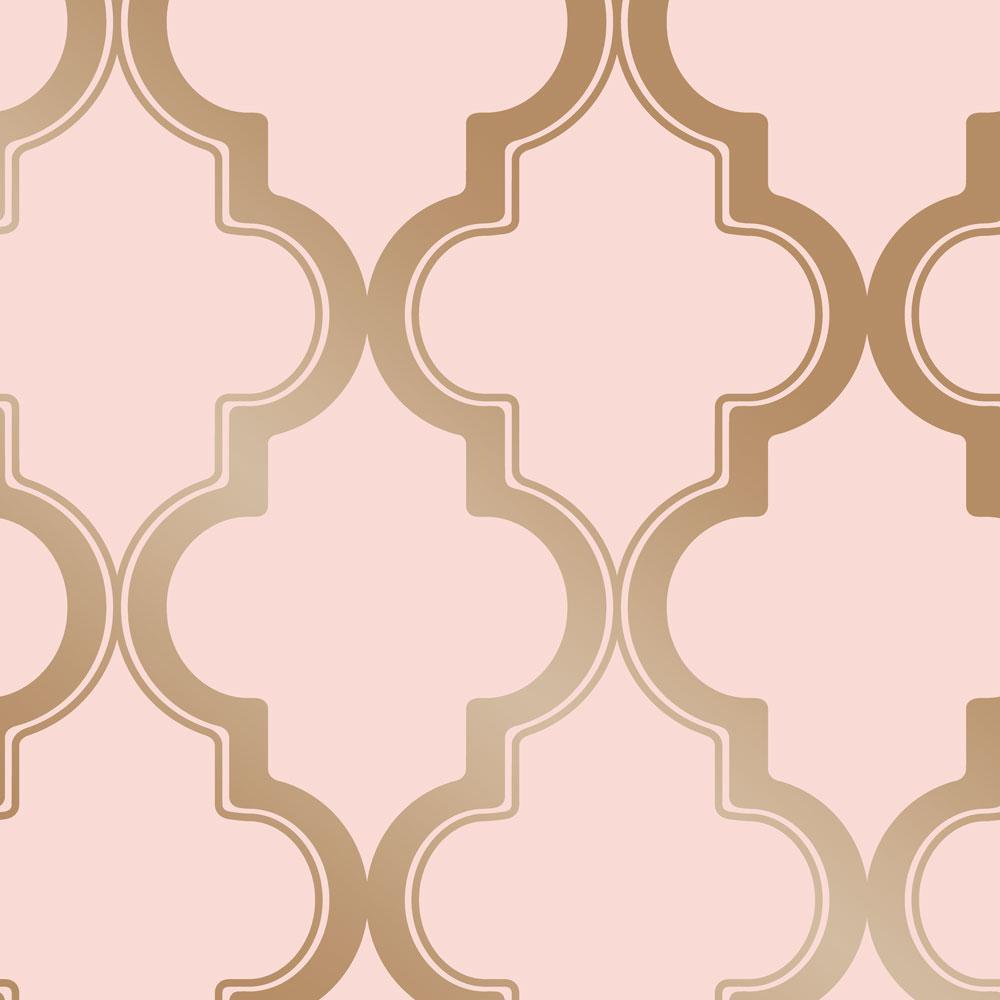 Marrakesh Pink & Metallic Gold Vinyl Peelable Roll (Covers 28 sq. ft.)