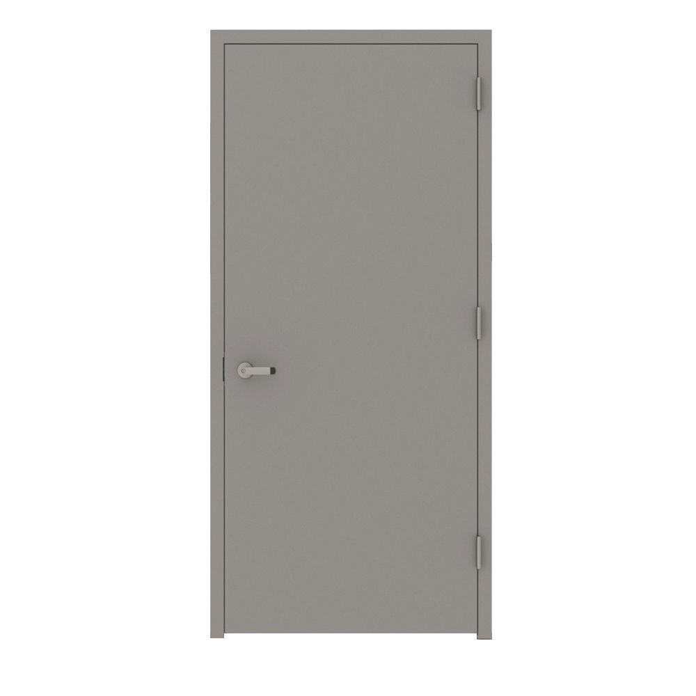 L.I.F Industries 30 in. x 80 in. Gray Flush Left-Hand Fire Proof Steel Prehung Commercial Entrance Door with Welded Frame