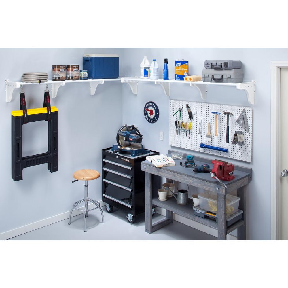 EZ Shelf 40 in. - 75 in. Metal 2-Expandable Garage Shelf in White (Set of 2)