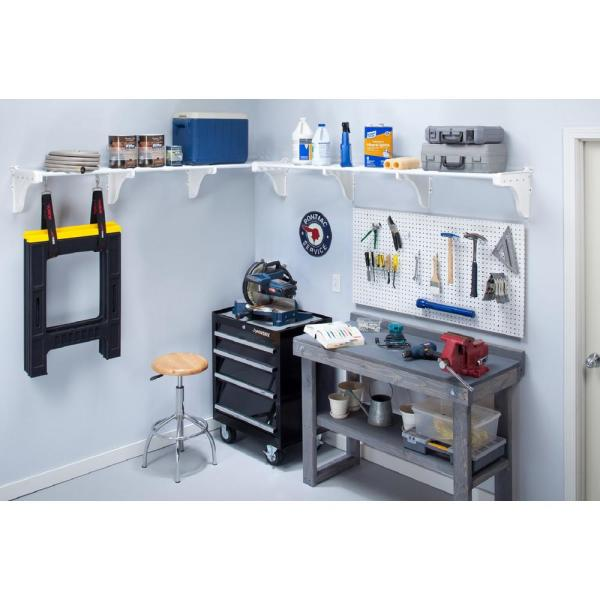 40 in. - 75 in. Metal 2-Expandable Garage Shelf in White (Set of 2)