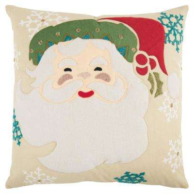Holiday Santa Clause 20 in. x 20 in. Decorative Filled Pillow