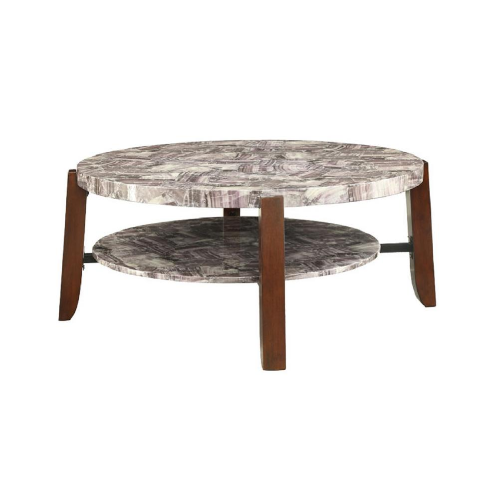 Cherry Marble Top Coffee Tables: ACME Furniture Lilith Cherry Marble Top Coffee Table-80955