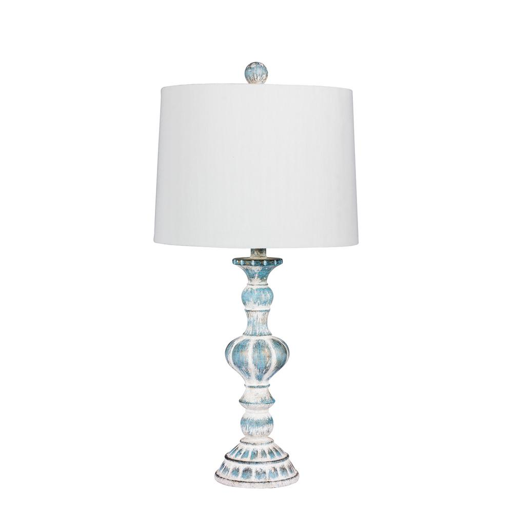 Distressed, Sculpted Candlestick Resin Table Lamp In A Cottage Antique