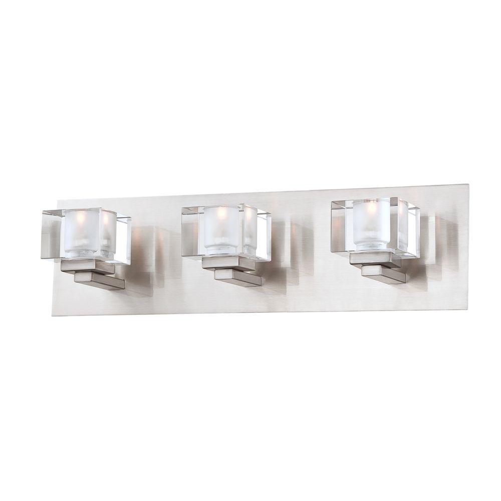 Eurofase Prism Collection 3-Light Satin Nickel Bath Bar Light