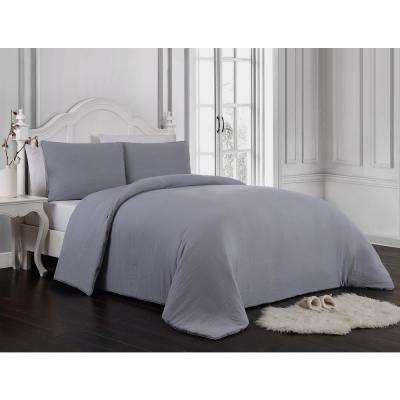 Gweneth 3-Piece Enzyme Washed Gray Queen Solid Comforter Set