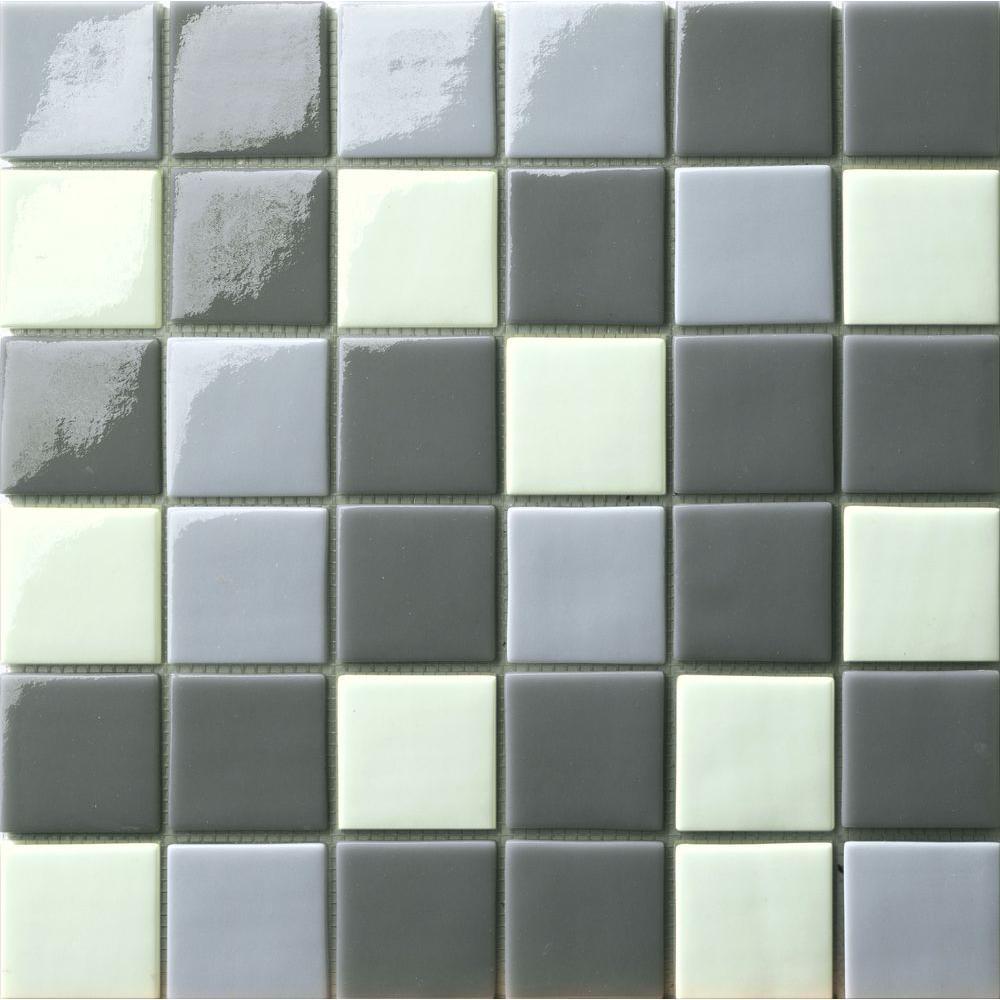 Elementz 12.5 in. x 12.5 in. Capri Grigio Mix Glossy Glass Tile-DISCONTINUED