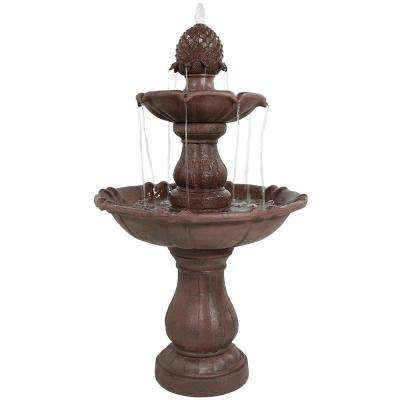 38 in. 2-Tier Curved Plinth Outdoor Water Fountain