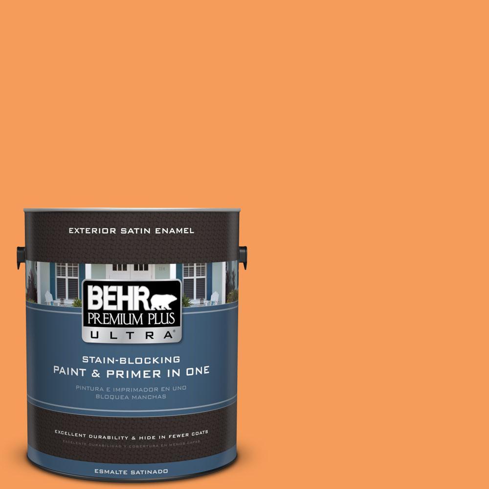 BEHR Premium Plus Ultra 1-gal. #P220-6 Bergamot Orange Satin Enamel Exterior Paint