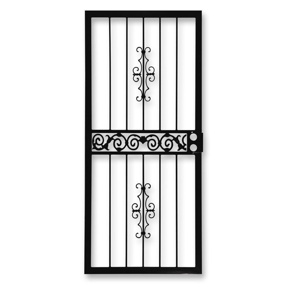 36 in. x 80 in. 401 Series Black Mariposa Security Door