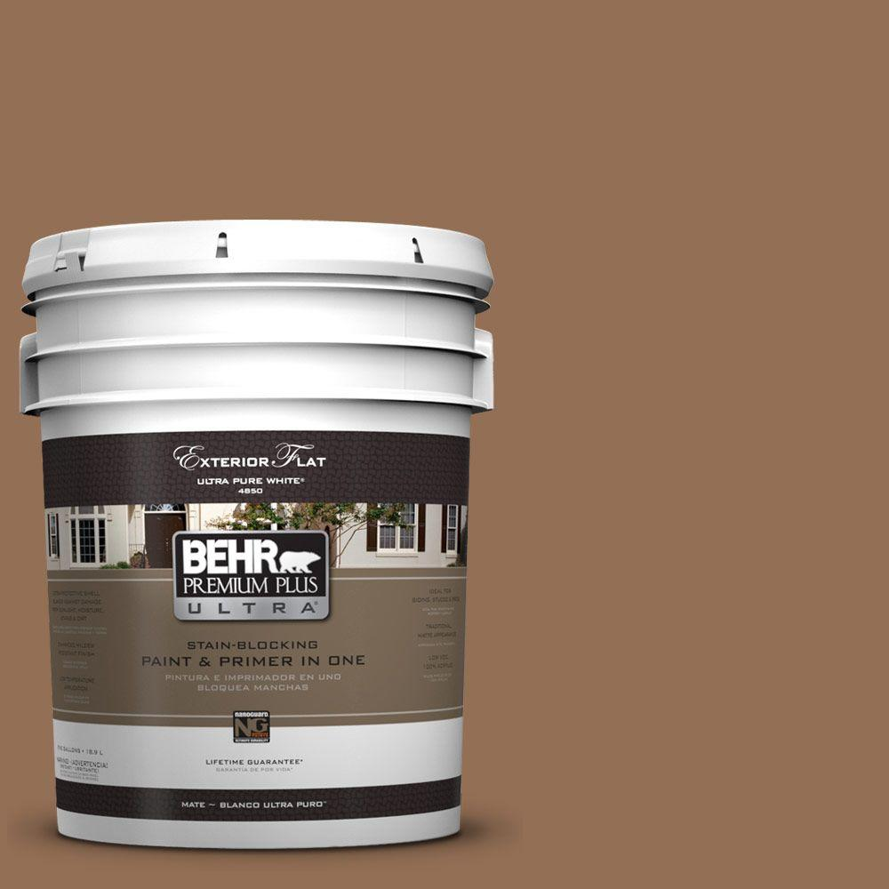 BEHR Premium Plus Ultra 5-gal. #UL140-21 Toffee Bar Flat Exterior Paint