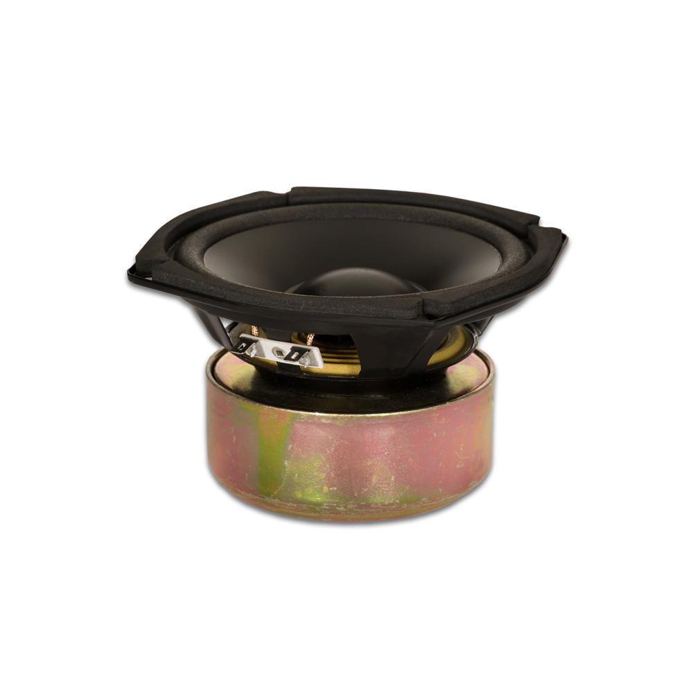 Shielded 5.25 in. Woofer 130-Watt 4 ohm Replacement Speaker This Goldwood Sound 4 ohm 5.25 in. driver has a maximum wattage of 130-Watt and is designed and engineered right here. This woofer features a 16 oz. shielded magnet with rolled foam surround and poly laminated cone. This woofer is a high end, pro audio transducer optimized for all musical instrument, DJ, car audio and professional applications.